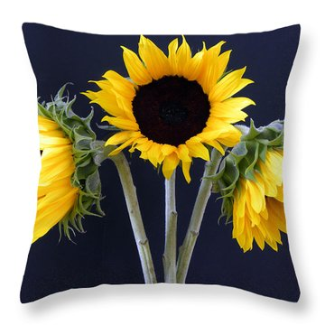 Sunflowers Three Throw Pillow by Sandi OReilly