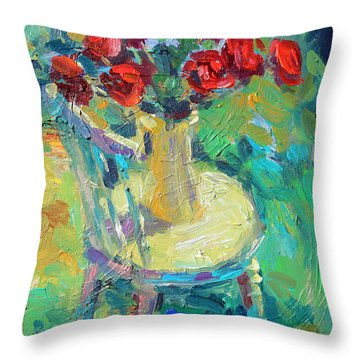 Sunny Impressionistic Rose Flowers Still Life Painting Throw Pillow by Svetlana Novikova