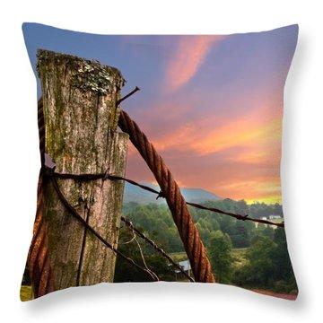 Sunrise Lasso Throw Pillow by Debra and Dave Vanderlaan