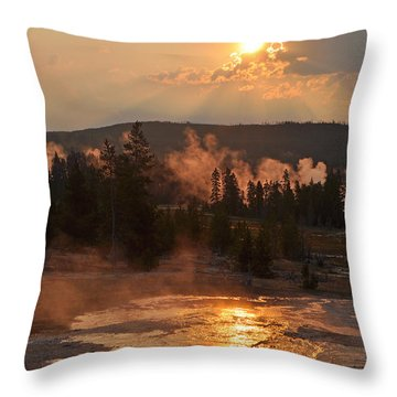 Sunrise Near Yellowstone's Punch Bowl Spring Throw Pillow by Bruce Gourley