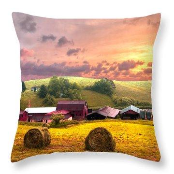 Sunrise Pastures Throw Pillow by Debra and Dave Vanderlaan