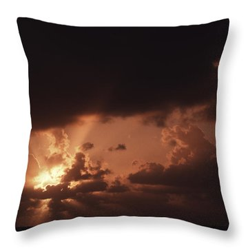 Sunset And Clouds Over Water Throw Pillow by Ira Block