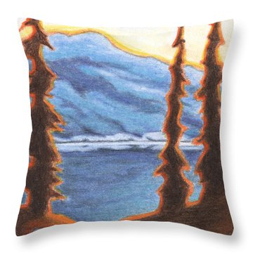 Sunset Fire Throw Pillow by Amy S Turner