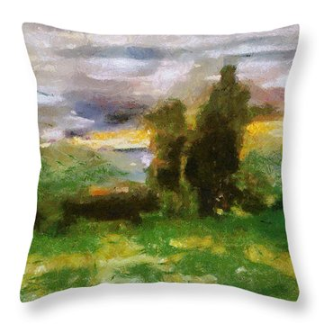 Sunset On The Road - The Highway Series Throw Pillow by Michelle Calkins