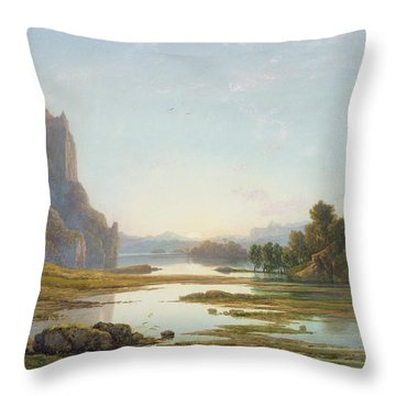Sunset Over A River Landscape Throw Pillow by Francis Danby