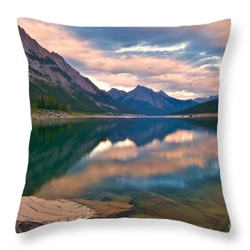 Sunset Over Medicine Lake Throw Pillow by James Steinberg and Photo Researchers