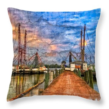 Sunset Shrimping II Throw Pillow by Debra and Dave Vanderlaan