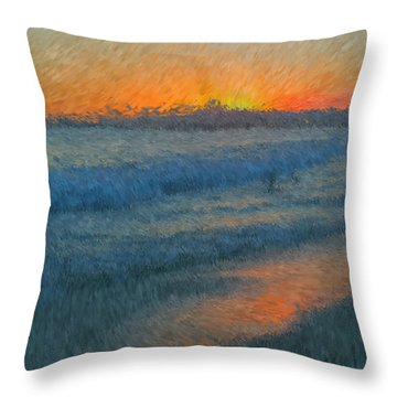 Sunset Surfers Throw Pillow by Heidi Smith