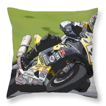 Superbike Racer II Throw Pillow by Clarence Holmes