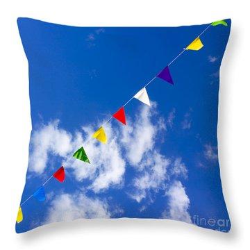 Suspended Festive Flags. Throw Pillow by Bernard Jaubert