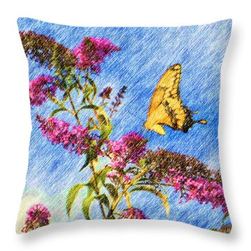 Swallowtail And Butterfly Bush Throw Pillow by Heidi Smith