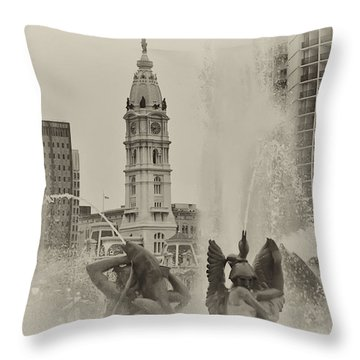 Swann Memorial Fountain In Sepia Throw Pillow by Bill Cannon