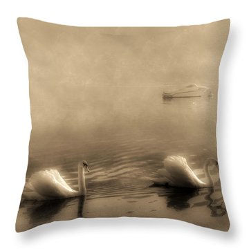 Swans Throw Pillow by Joana Kruse
