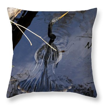 Swimming Bird Throw Pillow by David Lee Thompson