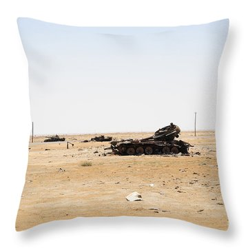 T-55 Tanks Destroyed By Nato Forces Throw Pillow by Andrew Chittock