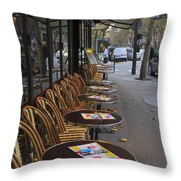 Tables Outside A Paris Bistro On An Autumn Day Throw Pillow by Louise Heusinkveld