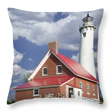Tawas Point Lighthouse In Michigan Number 0007 Throw Pillow by Randall Nyhof