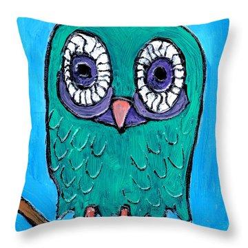 Teal Hooter 1 Throw Pillow by Wayne Potrafka
