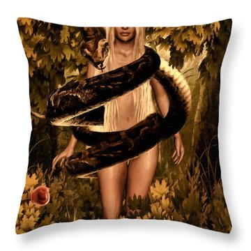 Temptation And Fall Throw Pillow by Lourry Legarde