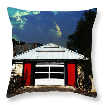 Texas Garage Throw Pillow by Kelly Rader