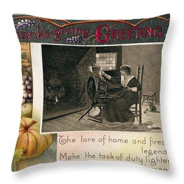 Thanksgiving Card, 1909 Throw Pillow by Granger