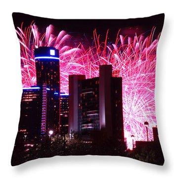 The 54th Annual Target Fireworks In Detroit Michigan Throw Pillow by Gordon Dean II