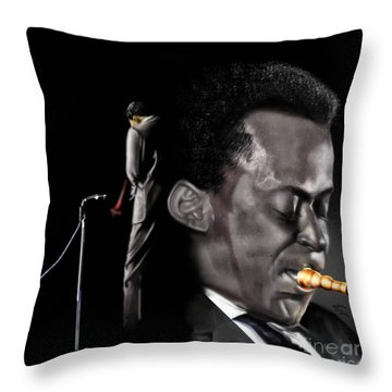 The Back And The Affront Of Miles Davis Throw Pillow by Reggie Duffie