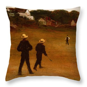 The Ball Players Throw Pillow by William Morris Hunt