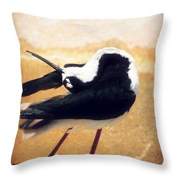The Ballerina Bird Throw Pillow by Peggy  Franz