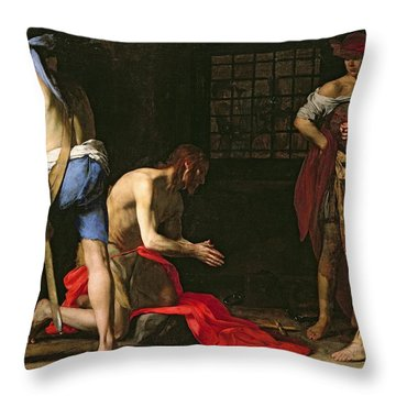 The Beheading Of John The Baptist Throw Pillow by Massimo Stanzione