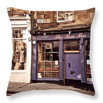 The Bow Bar. Edinburgh. Scotland Throw Pillow by Jenny Rainbow