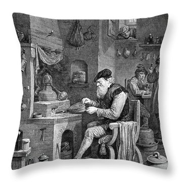 The Chemist, 17th Century Throw Pillow by Science Source