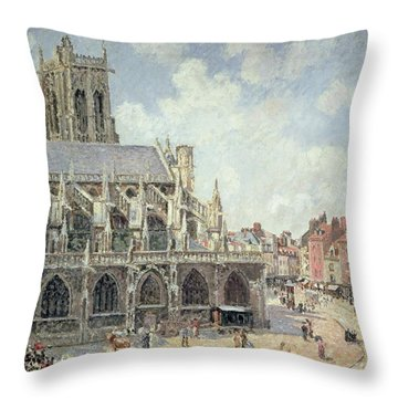 The Church Of Saint Jacques In Dieppe Throw Pillow by Camille Pissarro