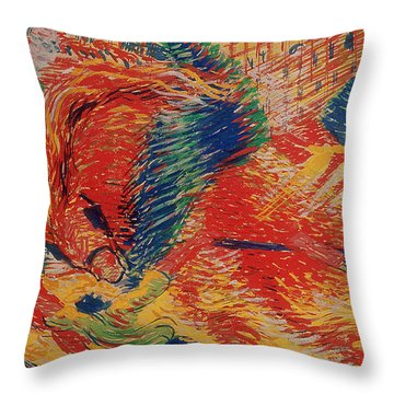 The City Rises Throw Pillow by Umberto Boccioni