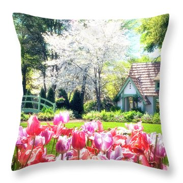 The Claude Monet Small House Throw Pillow by Tamyra Ayles