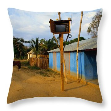 The Community Television Set Throw Pillow by James P. Blair