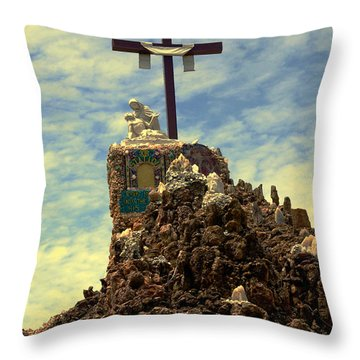 The Cross IIi In The Grotto In Iowa Throw Pillow by Susanne Van Hulst