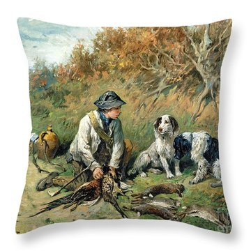 The Day's Bag Throw Pillow by John Emms