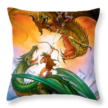 The Duel Throw Pillow by The Dragon Chronicles