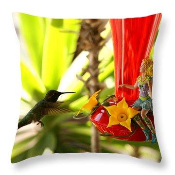 The Faeries Nectar Throw Pillow by Lon Casler Bixby
