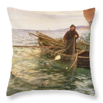 The Fisherman Throw Pillow by Charles Napier Hemy