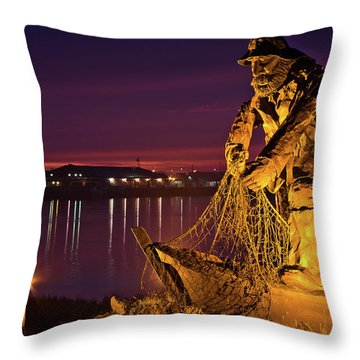 The Fisherman Throw Pillow by Greg Nyquist