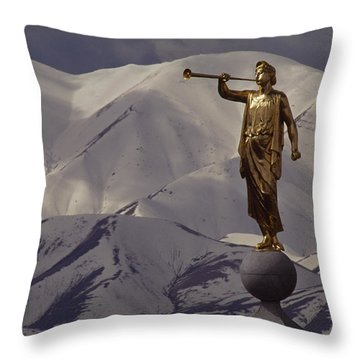The Gilded Statue Of The Angel Moroni Throw Pillow by James P. Blair