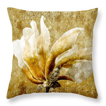 The Golden Magnolia Throw Pillow by Andee Design