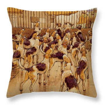 The Hounds Began Suddenly To Howl In Chorus  Throw Pillow by Cecil Charles Windsor Aldin