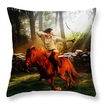 The Hunter Throw Pillow by Mary Hood