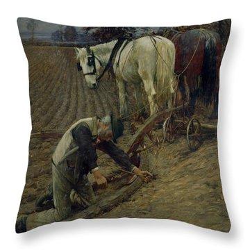 The Last Furrow Throw Pillow by Henry Herbert La Thangue