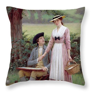 The Lord Of Burleigh Throw Pillow by Edmund Blair Leighton