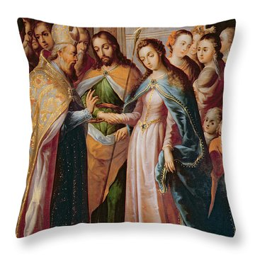 The Marriage Of Mary And Joseph Throw Pillow by Mexican School