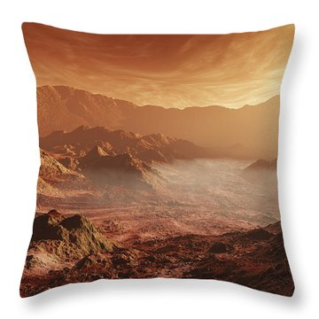 The Martian Sun Sets Over The High Throw Pillow by Steven Hobbs
